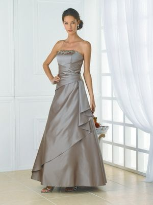Strapless, A-line gown with a wrap waist.    Available in Satin or Taffeta, Short Length only, and all satin and taffeta colors.