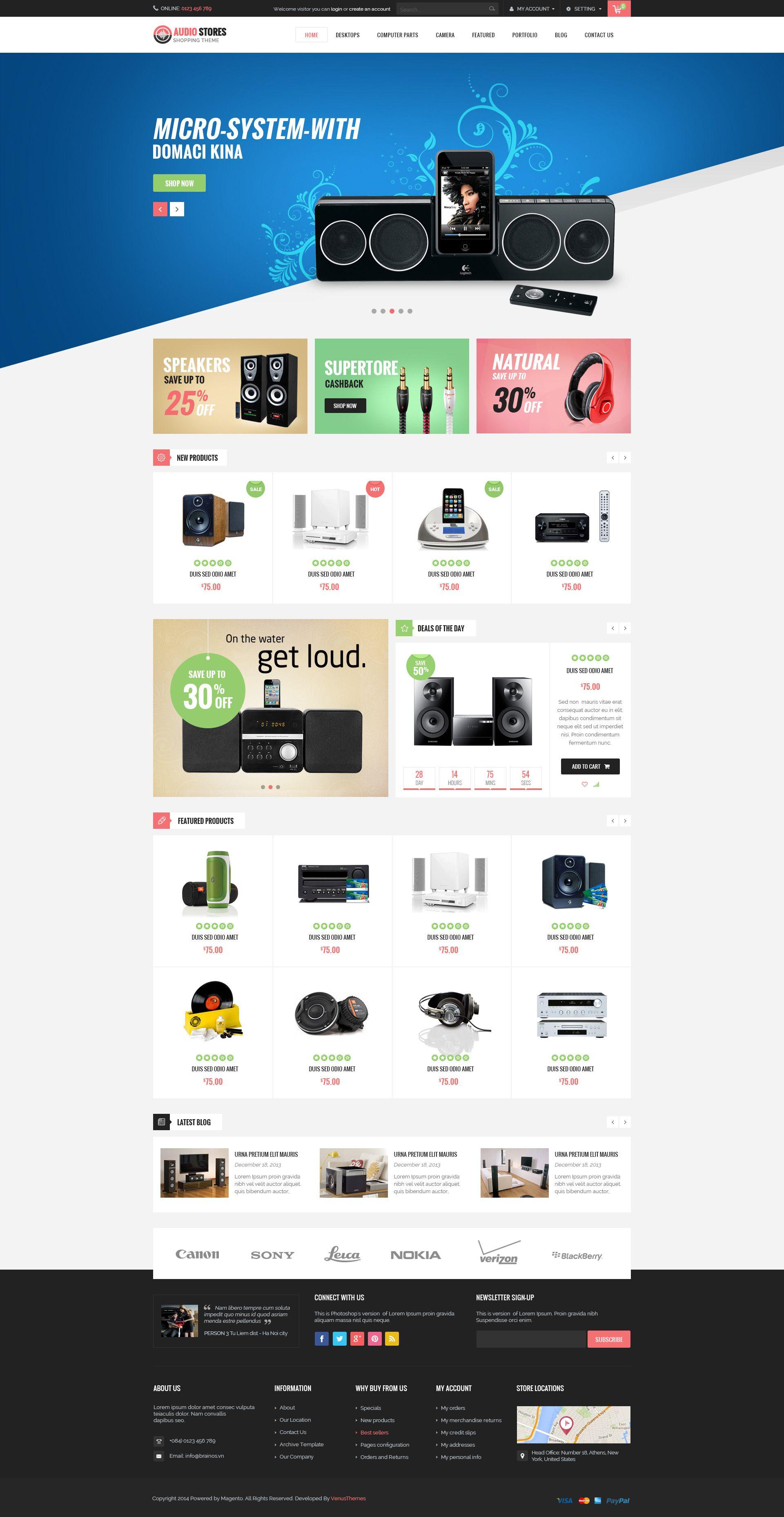 Ves Audio Store Responsive Magento Theme Store Audio Ves