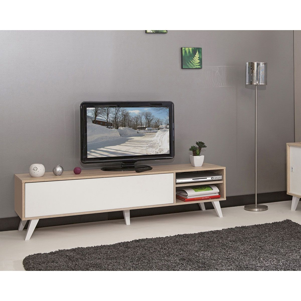 Meuble Tv Pieds Inclin S 165 Cm Ch Ne Blanc Chene Blanc Meuble  # Meuble Tv Pied Bois