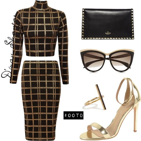 #OOTD - ChiaraFashion.co.uk Top & Skirt by adswil on Polyvore featuring polyvore fashion style J/Slides Valentino Ileana Makri Alexander McQueen