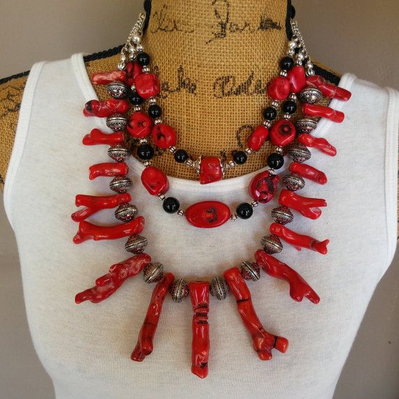 Coral Finger Multi-Strand Ethnic Bib Collar by BestBeadedBling