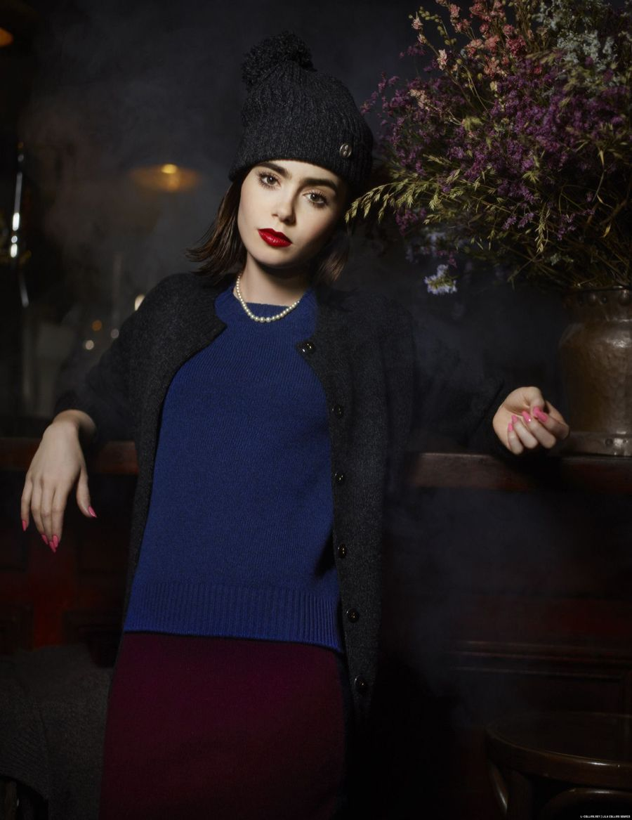 Lily Collins for Barrie Knitwear - Pursuitist | Lily ...