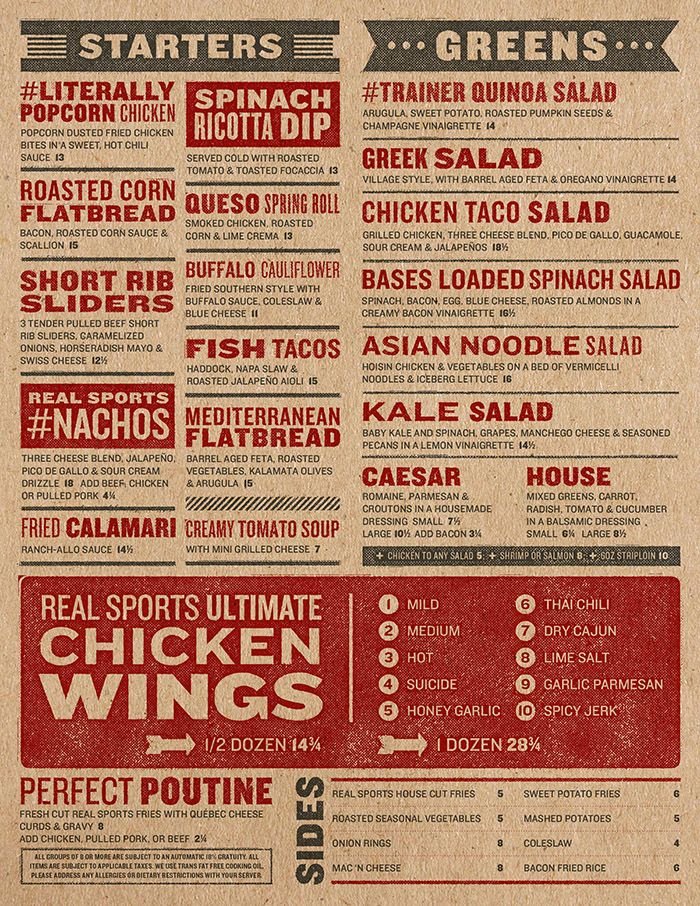 Art of the menu real sports bar grill brand for pub for Alaska fish and chicken menu