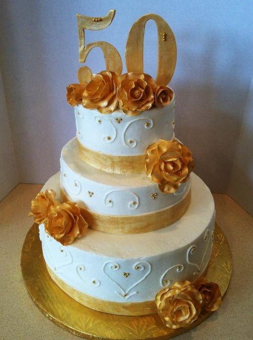 3 Tier 50th Anniversary Cake Wedding Cakes 50th
