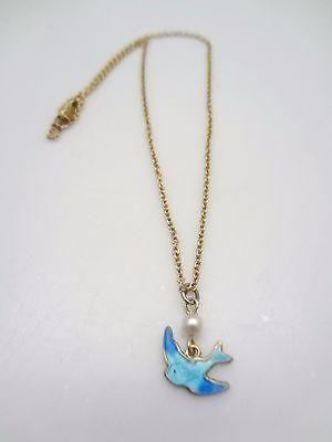 """Vintage Sarah Coventry Enamel Blue Bird of Happiness Necklace 14""""l.  - 1"""