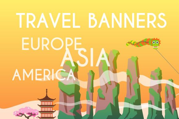Banners set. America. Asia. Europe. by Red monkey on Creative Market