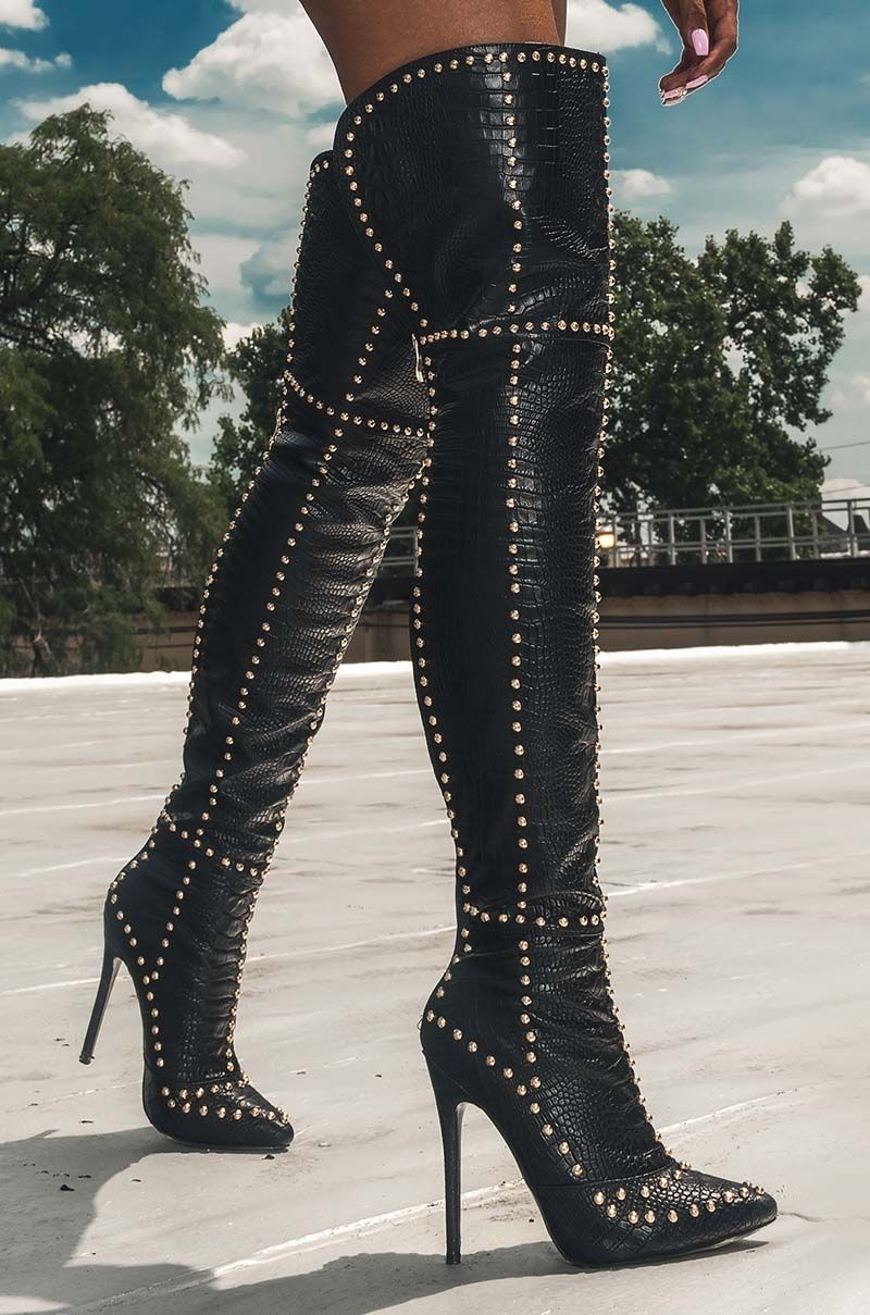 0caea256d28 AKIRA Thigh High Faux Snakeskin Studded High Stiletto Heel Boots in Black  Croco