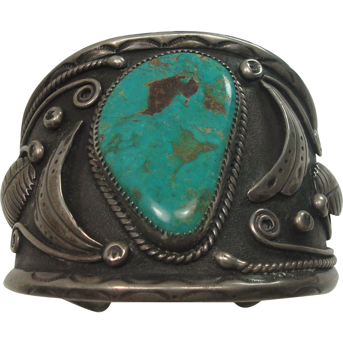 Signed lorenzo livingston turquoise and sterling cuff bracelet