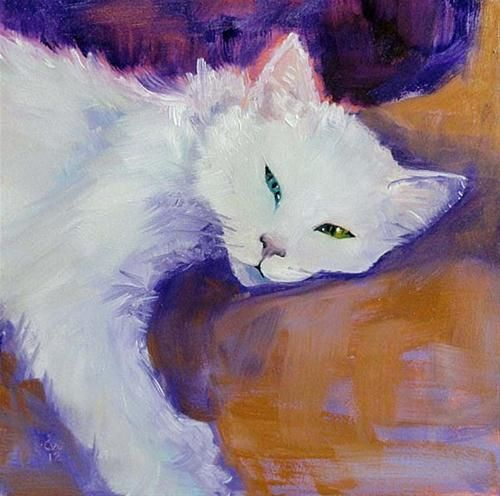 """Daily Paintworks - """"Odd-Eyed White"""" by Cietha Wilson"""