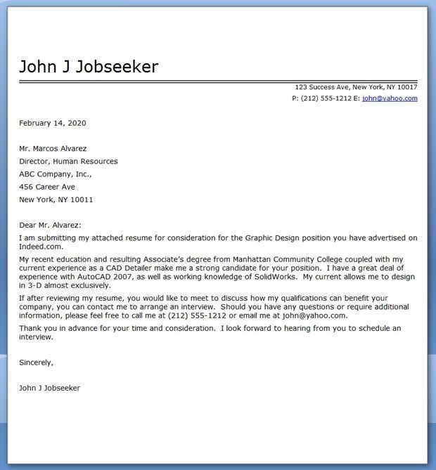 Sample Cover Letter Example Template: Graphic Design Cover Letter Sample PDF