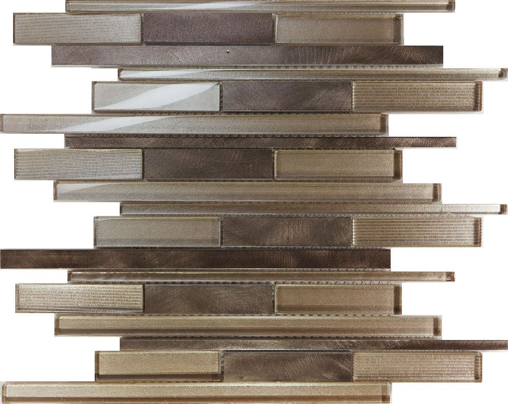 sample copper brown metal glass blend linear mosaic tile kitchen