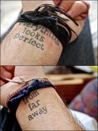 Everything looks perfect from away writing tattoo on wrist