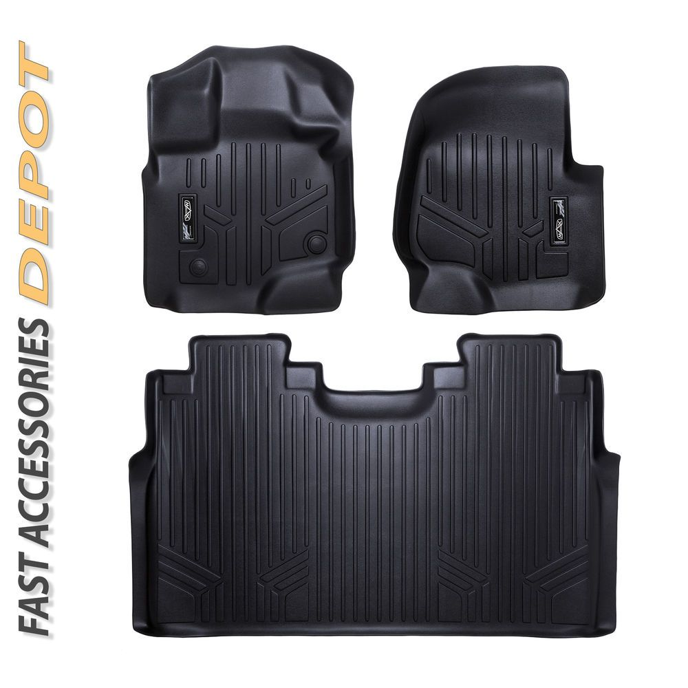 Details about MAXFLOORMAT Floor Mats 2 Row Set Black for
