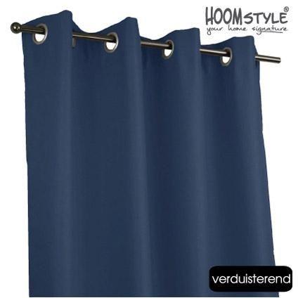 HOOMstyle kant & klaar gordijn verduisterend ringen donkerblauw 140 ...