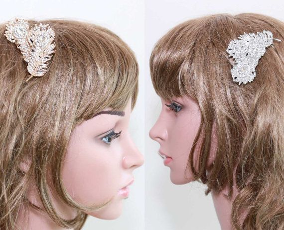 Bridal Hair Comb Wedding Hair Comb Double Feather by BlingGarden