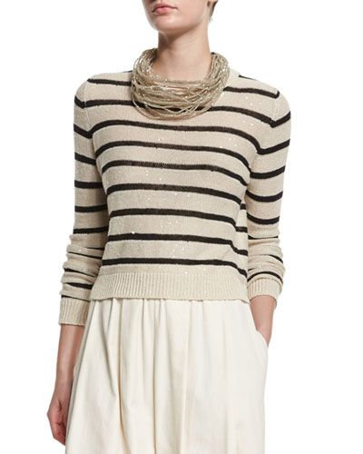 W0A3J Brunello Cucinelli Striped Paillette-Embellished Silk-Blend Sweater, Butter