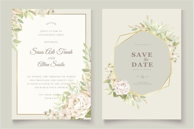 wedding invitation card with beautiful r  free vector
