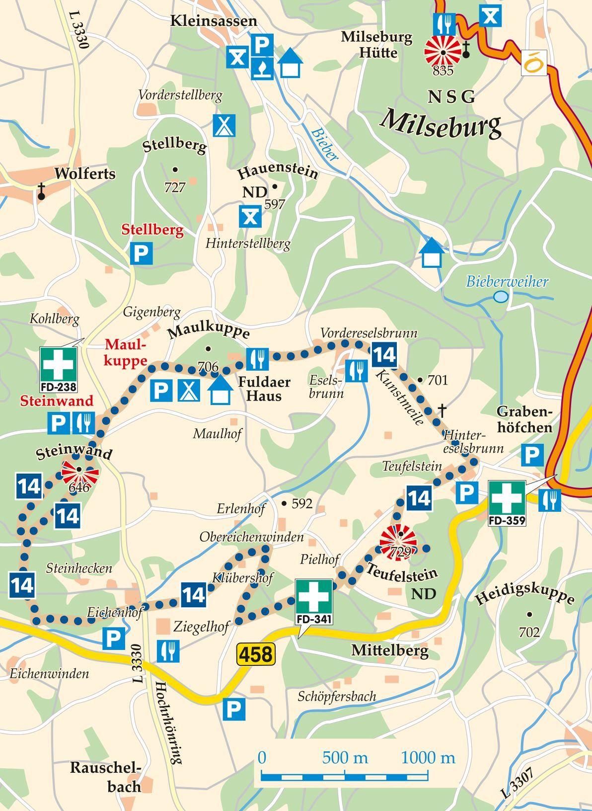 Rhon Rundweg 14 Ziegelhof Karte Hof Ziegel Ausflugsziele