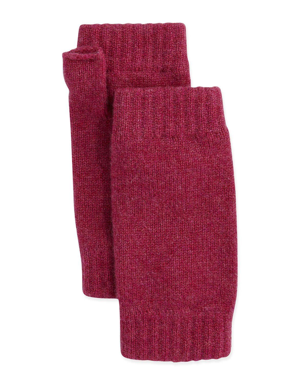 Ribbed Cashmere Wrist Warmers, Cyclamen