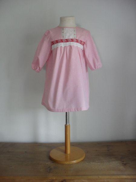 Jurkje roze/wit ruitje Pien, handmade by GeK www.kinderwebwinkel.com www.dawanda.com