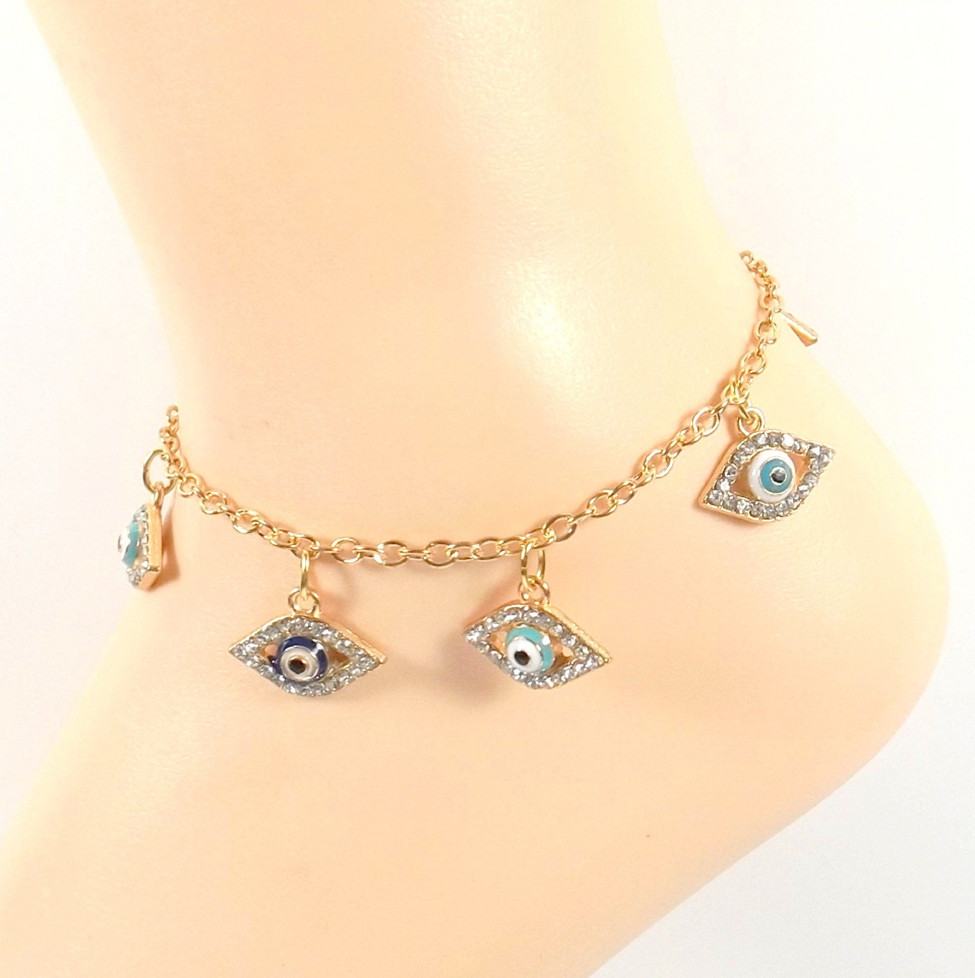 Gold Rhinestone Enamel Evil Eye- Golden Ankle Bracelet - Gift for Her - Present Woman- Mother's Day Gift. Protect yourself or your loved one from the evils of life with this gorgeous evil eye ankle. The gold has a bit of a rose tone the eye is hand painted in rich enamels with a rhinestone bezel and hangs from a matching chain with a lobster-claw clasp. This anklet is just the perfect gift for someone special, especially if it is yourself. Available in sizes 8-10 through customization…