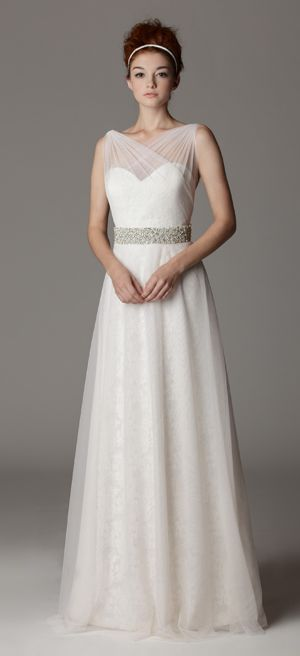 Style 289FA. Sweetheart strapless wedding dress with illusion neckline.  Made in USA.  Ariadress.com $1,200