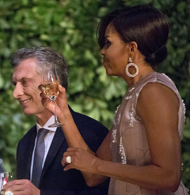 See Michelle Obamas Buenos Aires bling Cocktail rings Obama and