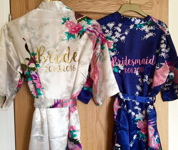 d291f1f6e9 Wedding Satin Floral Dressing Gowns (LONG) Robe for Bride   Bridesmaid    Maid of Honour and more