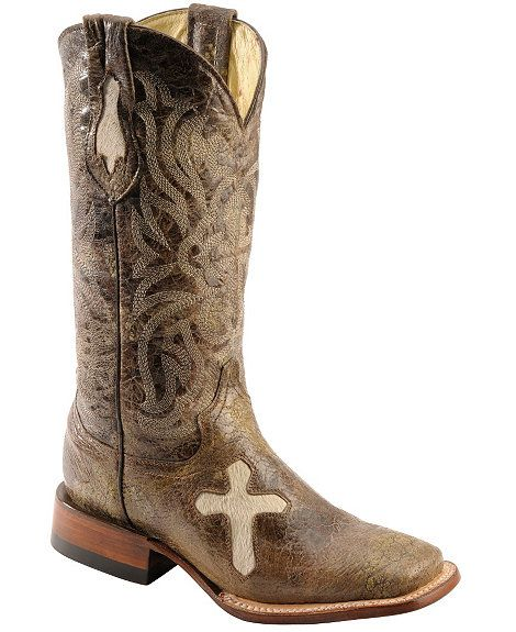 Ferrini Distressed Cowhide Cross Cowgirl Boots - Wide Square toe ...