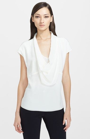 a1d722e3f751f Scandal (S04E06 - An Innocent Man) This is Olivia Pope s (Kerry Washington)  white draped collar t-shirt. The silk top is from German luxury fashion  brand ...