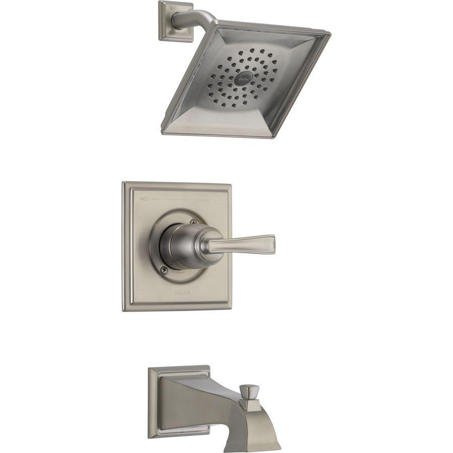 Delta Olmsted SpotShield Brushed Nickel 1-Handle WaterSense Tub and ...