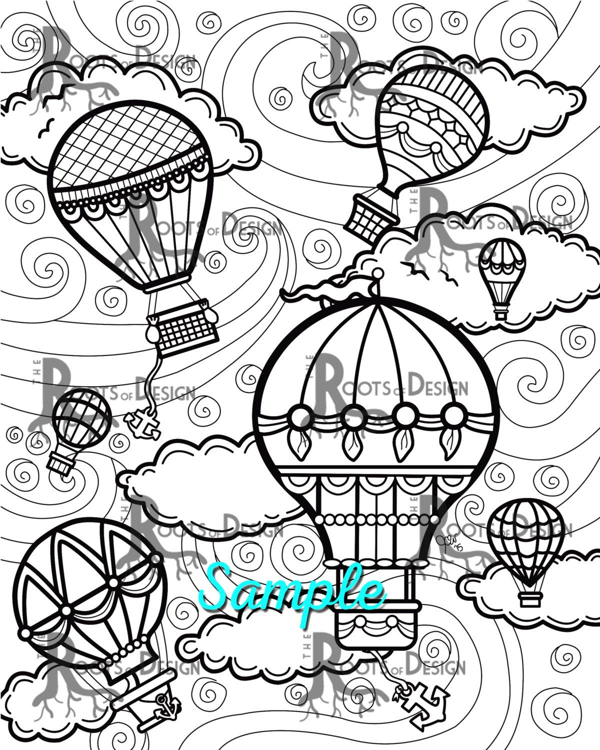 INSTANT DOWNLOAD Coloring Page Hot Air Balloons от RootsDesign ...