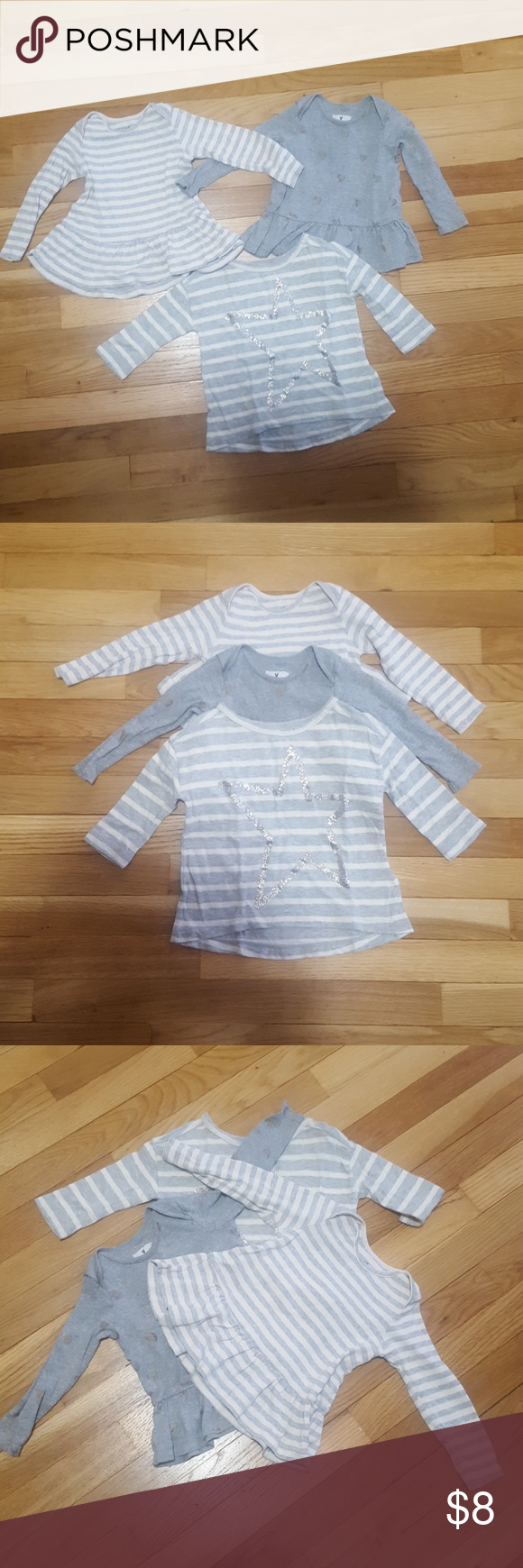 JCrew bundle 3 gently used JCrew baby tops.  The stripped top with the glittery star is size 2. The others are 12-18 months. J. Crew Shirts & Tops Tees - Long Sleeve