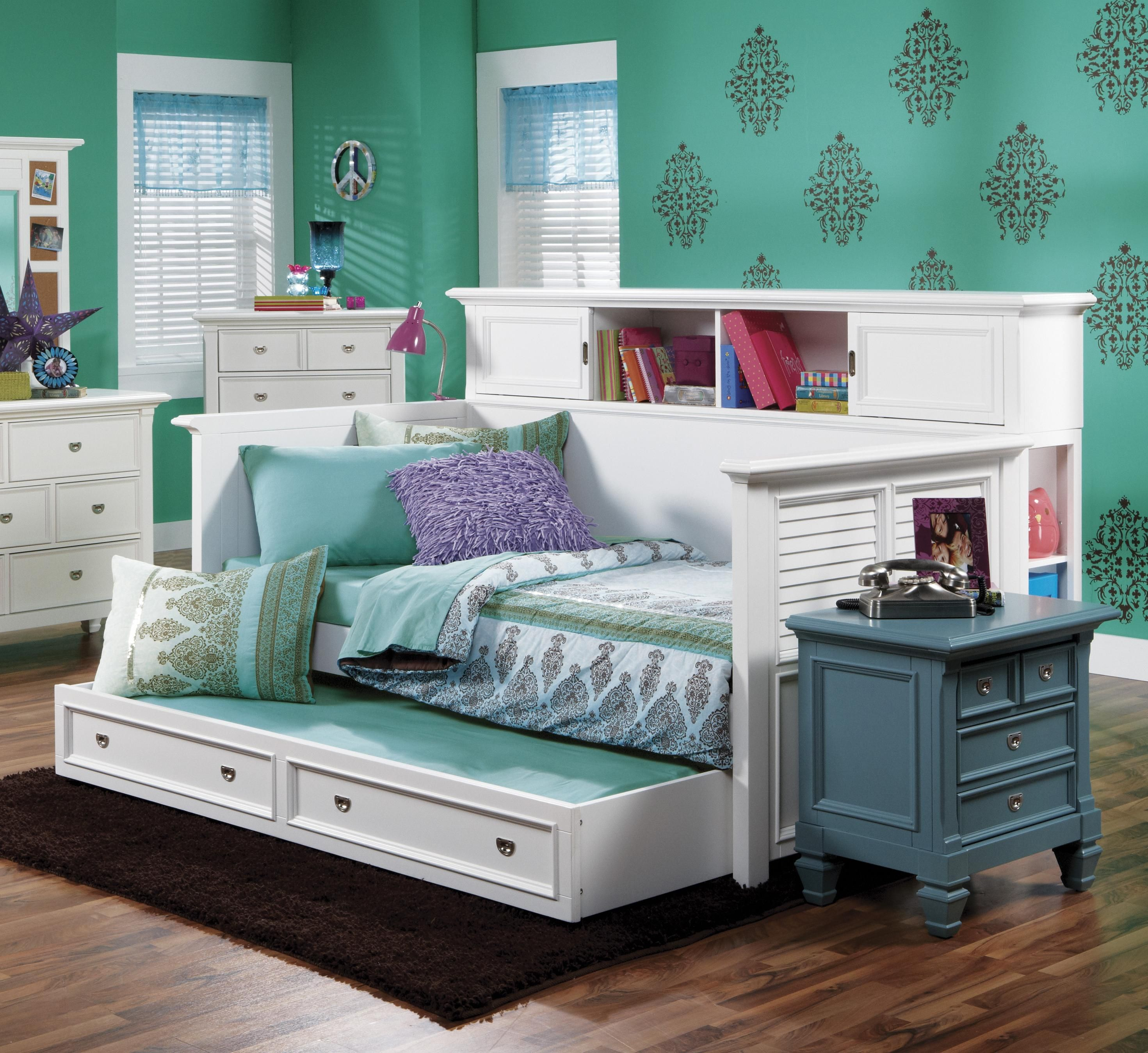 White trundle bed for girls - Modern Style Meets Country Chic With This Berkshire Bookcase Day Bed Perfect Size With A