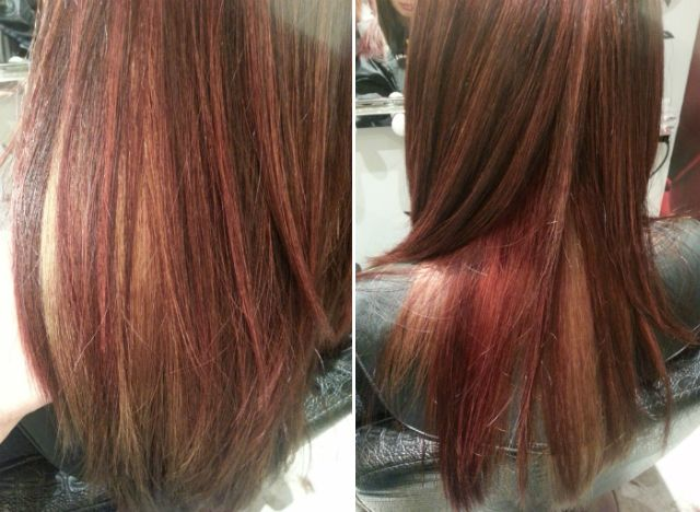 Multdimensional highlights red and blonde hair