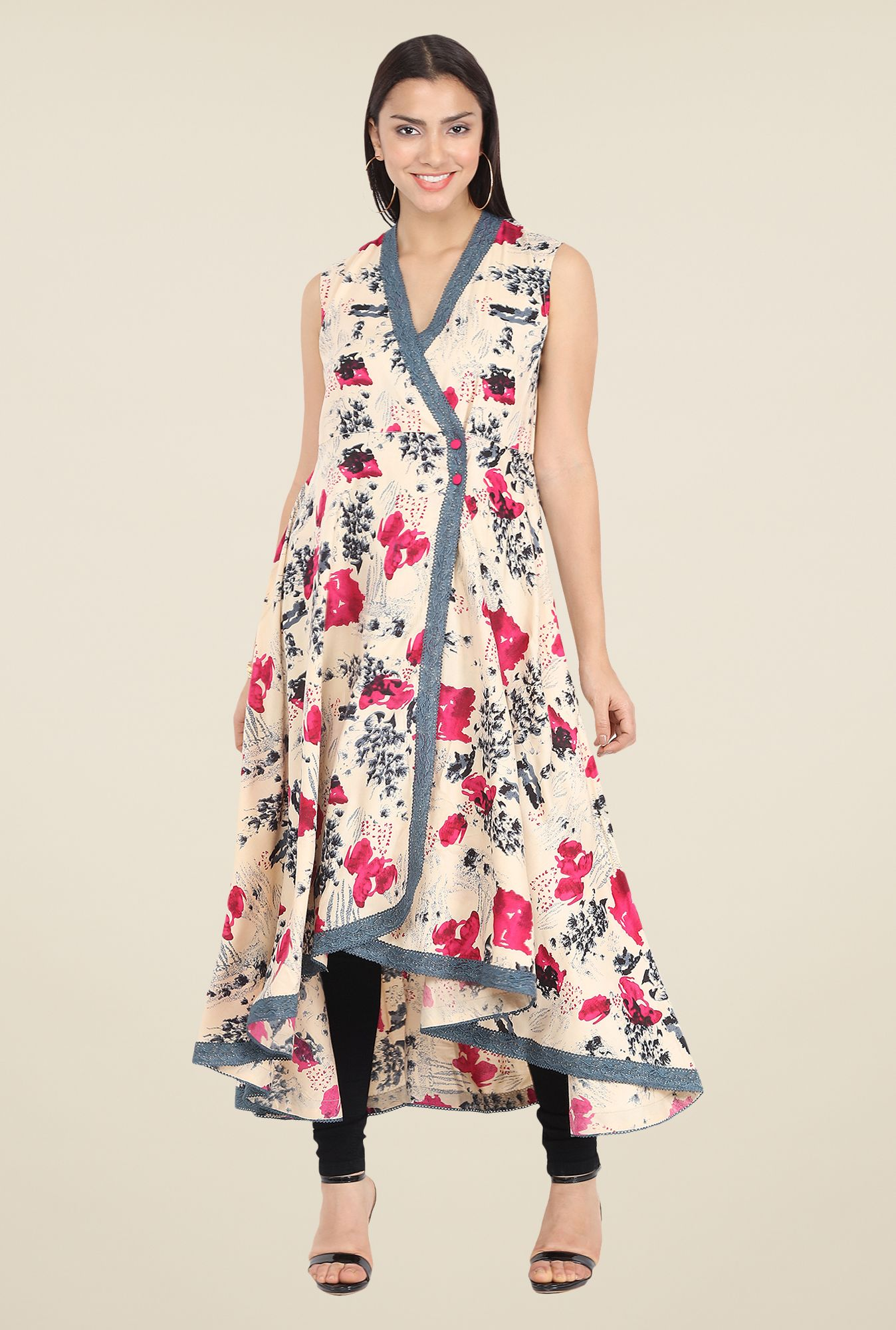 28acbd340e4f Nayo Beige Printed A Line Kurta. Find this Pin and more on Indian wear ...