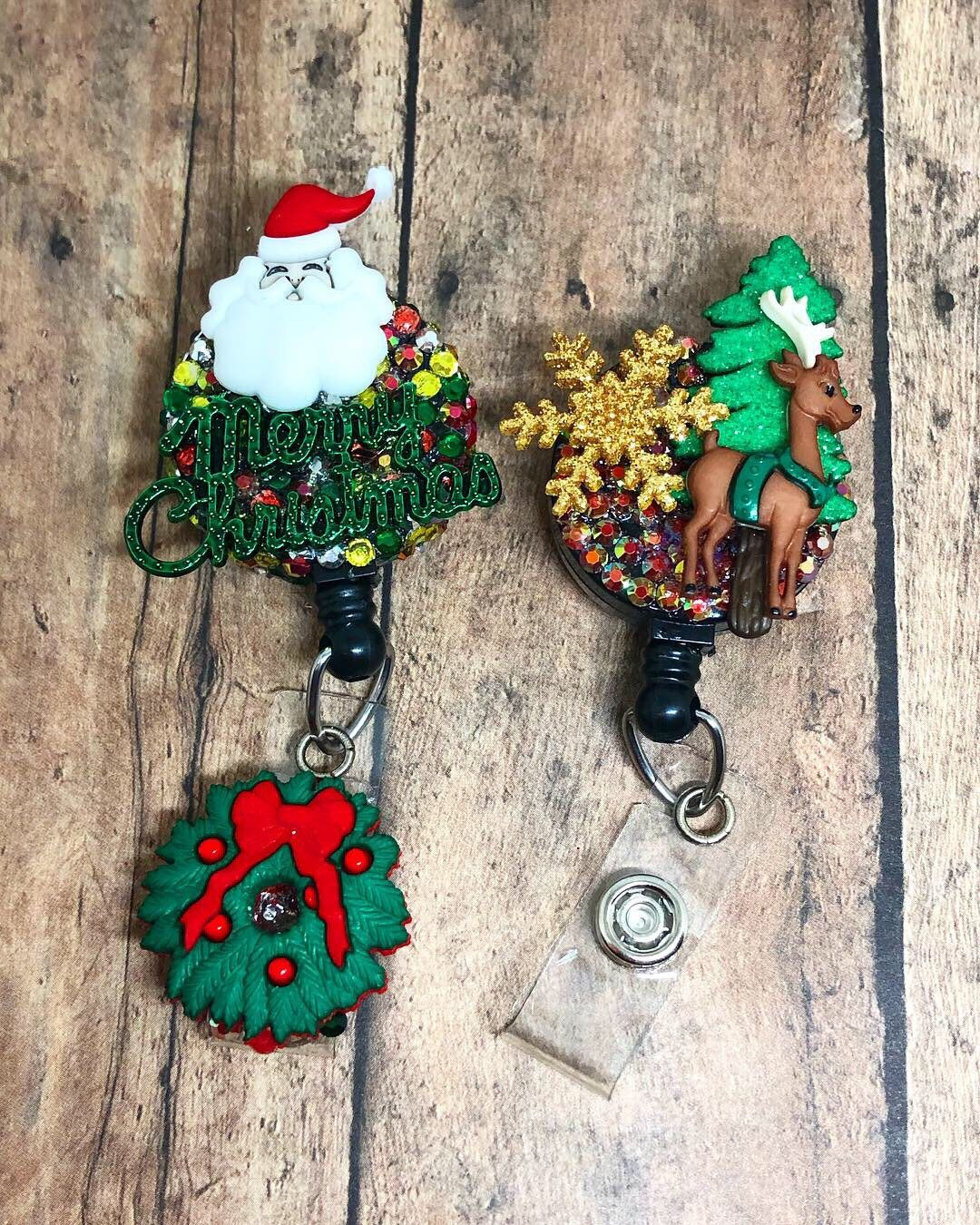 Santa and his Reindeer ID Badge Reel - Retractable ID Badge