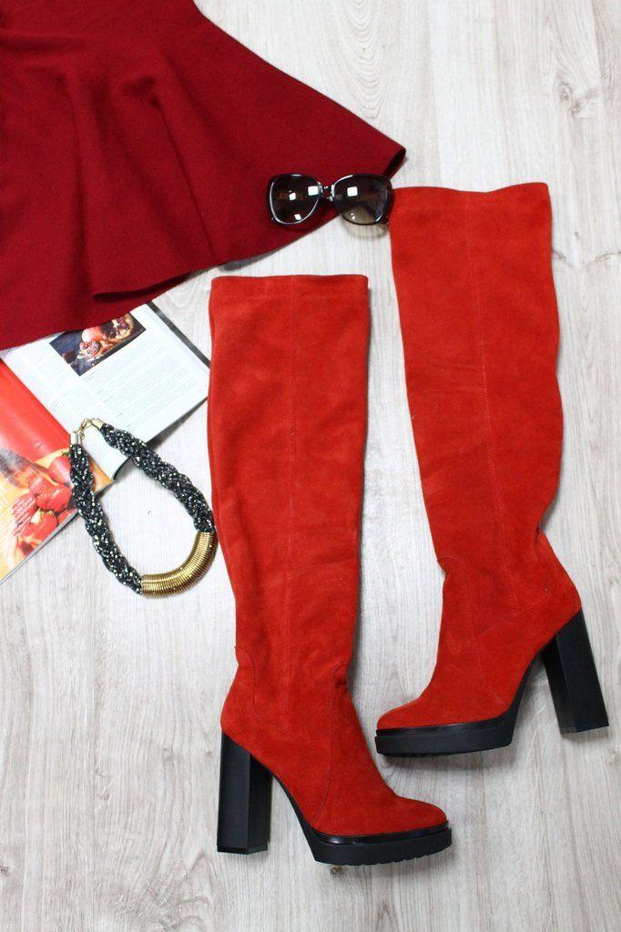 c2aab85e7 Шикарные замшевые красные, черные и изумрудные сапоги женские демисезонные  натуральные замшевые сапоги ботфорты на устойчивом