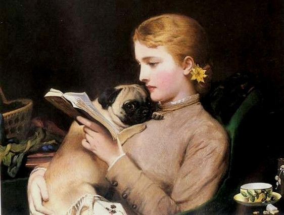 19th Century Portrait Of Girl And Pug Victorian Paintings Pugs