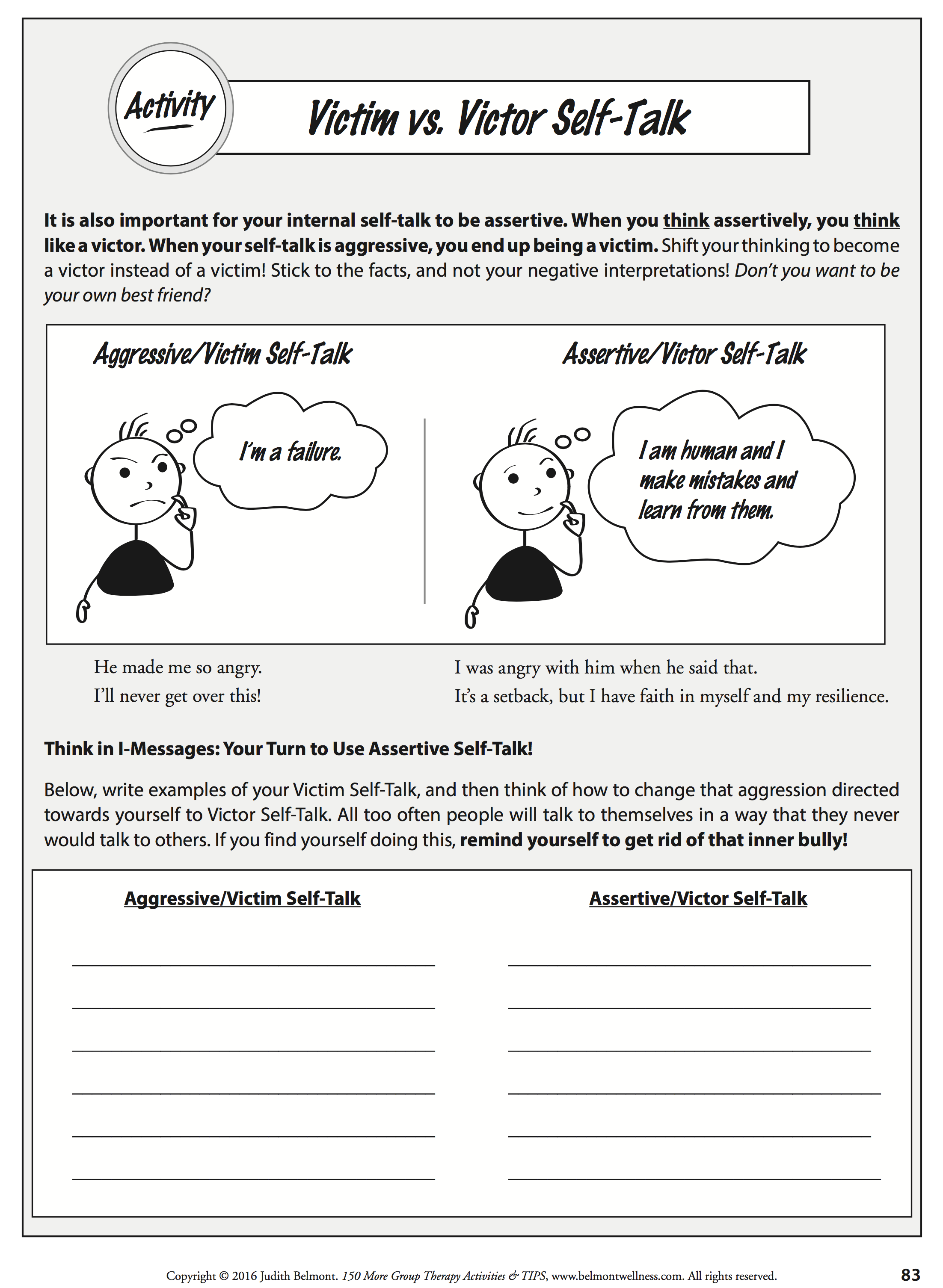 Self Talk Worksheet Changing From Negative To Positive