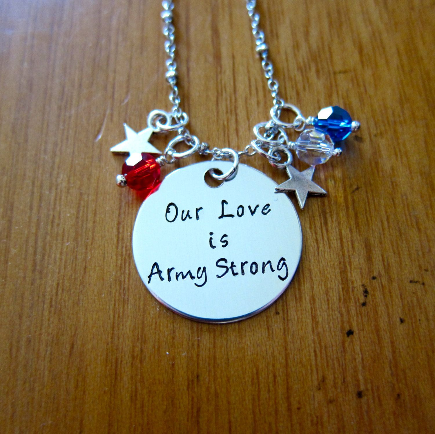 Our Love Is Army Strong Necklace. Army Wife Necklace. Army Girlfriend Necklace. USA Patriotic Military. Hand stamped  Crystals by WithLoveFromOC (item: 2016311830)