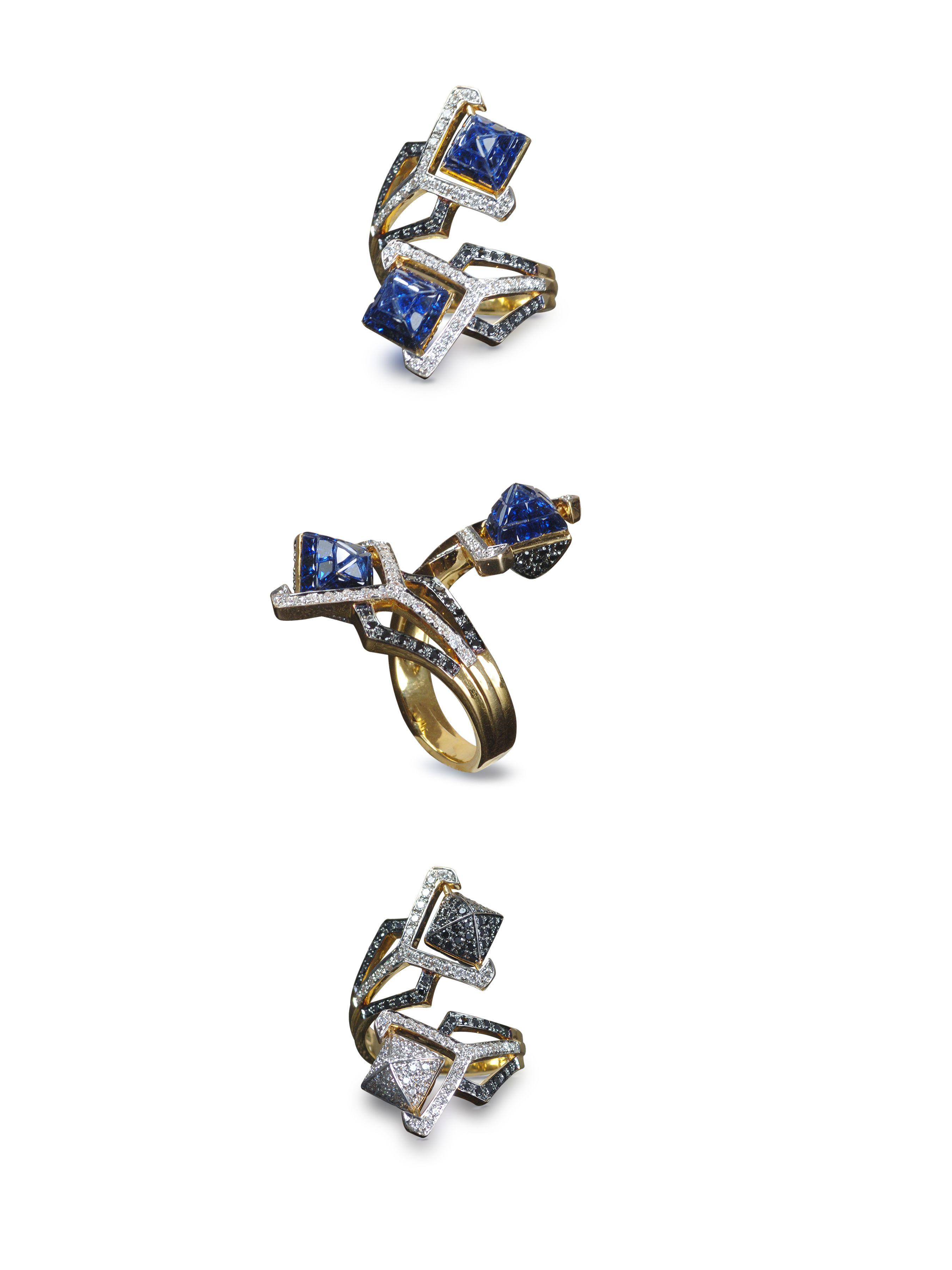 by sharart design -Sharlinn Liew Invisible setting, blue sapphire & diamond Ring 18K yellow gold pirouetting pyramid