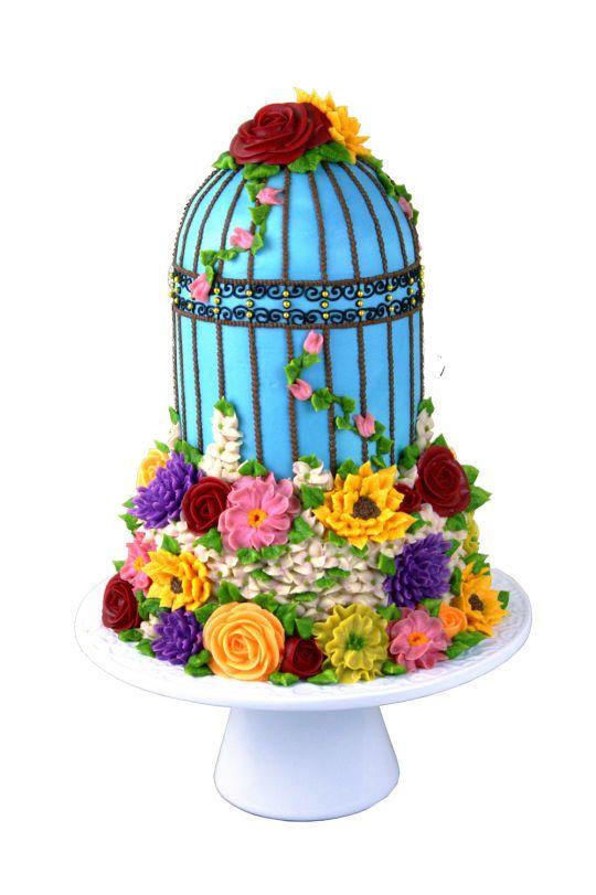 Garden birdcage Cake ~ 100% buttercream