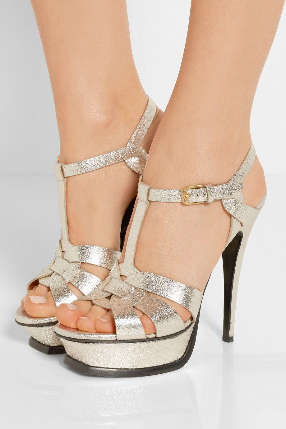 075625c5c1123f SAINT LAURENT Tribute metallic textured-leather platform sandals ...