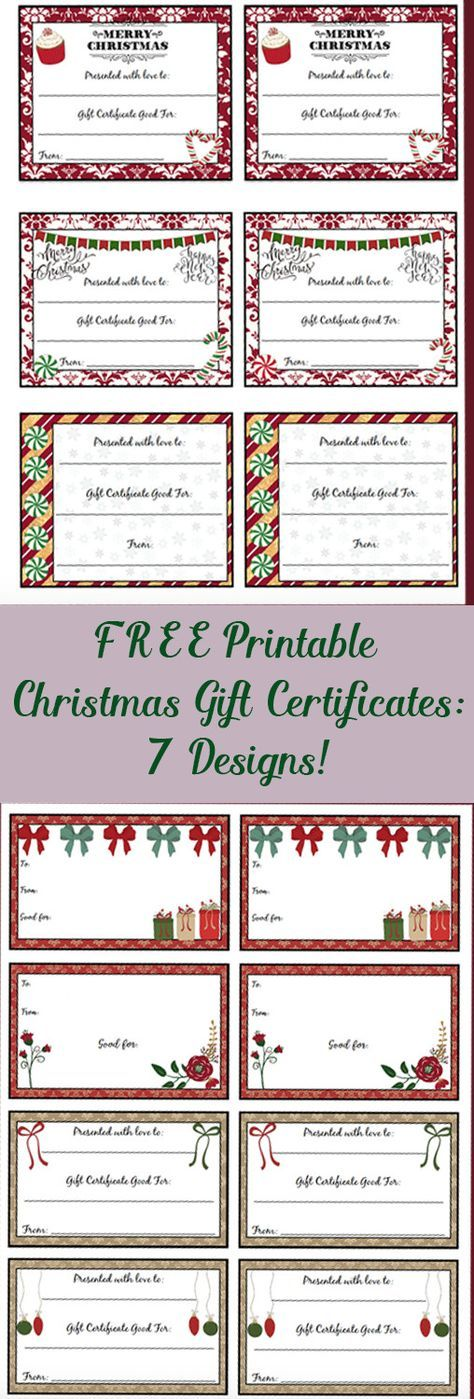 FREE Printable Christmas Gift Certificates 7 Designs, Pick Your