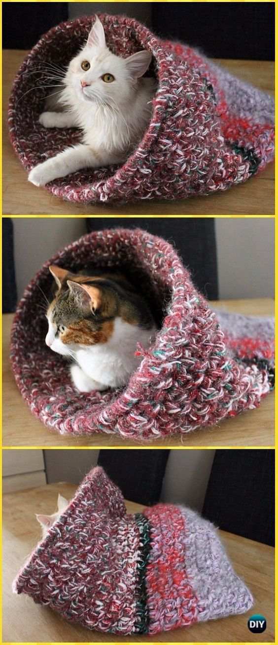 Crochet Cat House & Nest Bed Patterns & Instructions #cavehouse