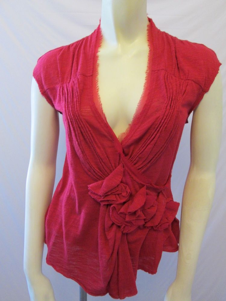 Anthropologie Deletta Red 100% Cotton Floral Cap Sleeve Surplice Top XS #Anthropologie #KnitTop #Career