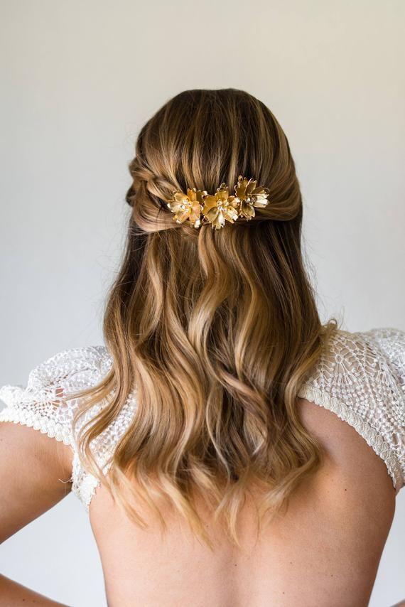 Bridal Comb Bridal Hair Comb Mariée Casque de mariage Pièce de tête Flower Comb Fleur Fleur Comb Gold Hair Comb Silver Comb #170