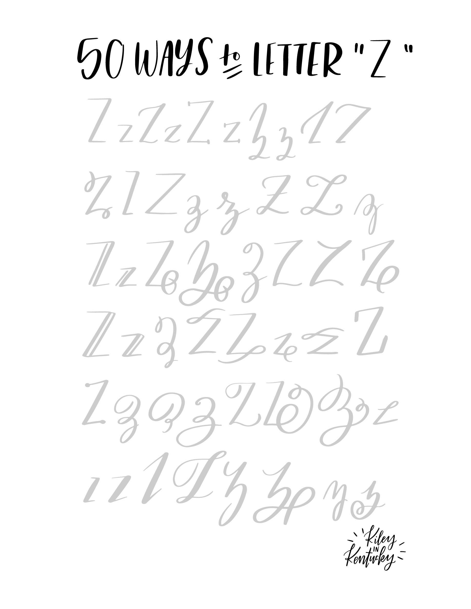 50 Möglichkeiten, den Buchstaben Z zu lettern   Lettering, Handstyle ...