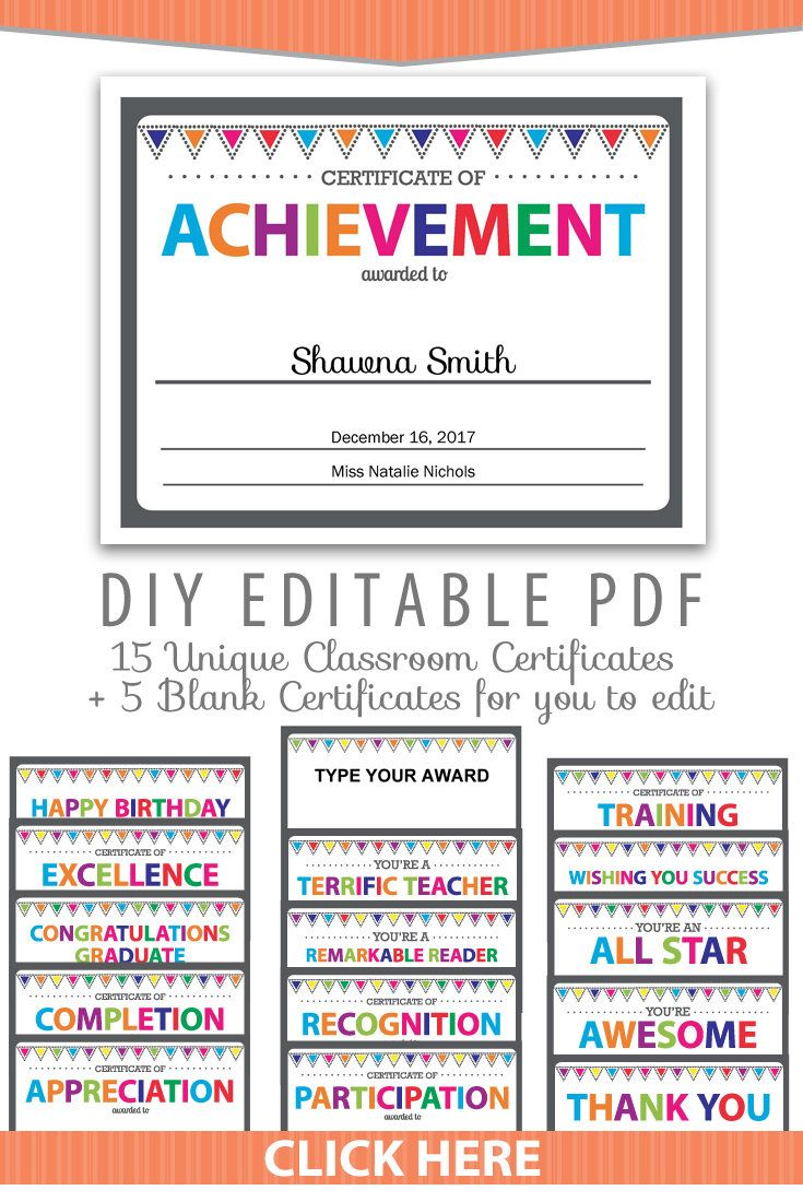 Editable pdf kids children teacher classroom certificate award editable pdf kids children teacher classroom certificate award letter size template 20 pack printable rainbow colors yadclub Gallery